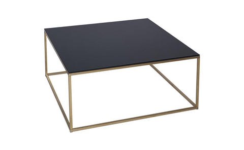 GillmoreSPACE Kensal Black Glass & Brass Square Coffee Table