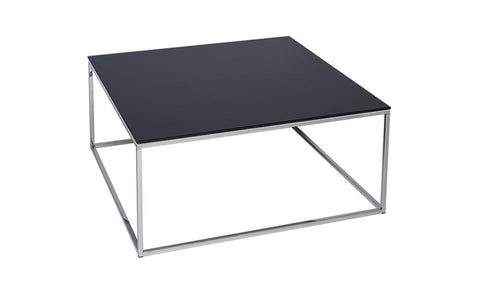 GillmoreSPACE Kensal Black Glass & Steel Square Coffee Table