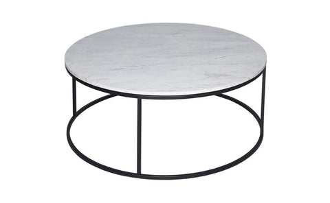 GillmoreSPACE Kensal Marble & Matt Black Metal Circular Coffee Table