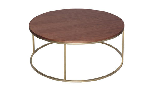 GillmoreSPACE Kensal Walnut & Brass Circular Coffee Table
