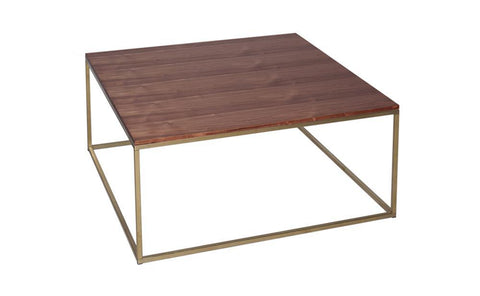 GillmoreSPACE Kensal Walnut & Brass Square Coffee Table