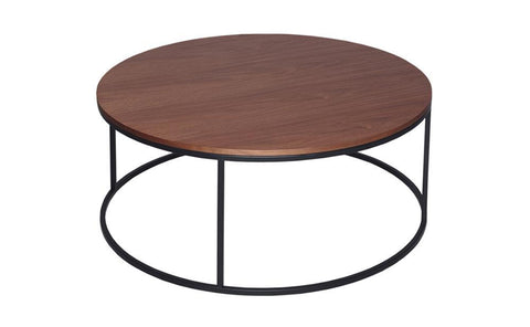 GillmoreSPACE Kensal Walnut & Matt Black Metal Circular Coffee Table