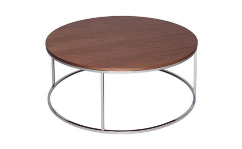 GillmoreSPACE Kensal Walnut & Steel Circular Coffee Table