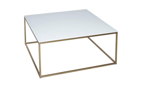 GillmoreSPACE Kensal White Glass & Brass Square Coffee Table