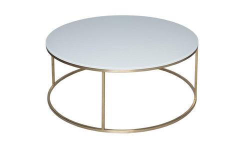 GillmoreSPACE Kensal White Glass & Satin Circular Coffee Table