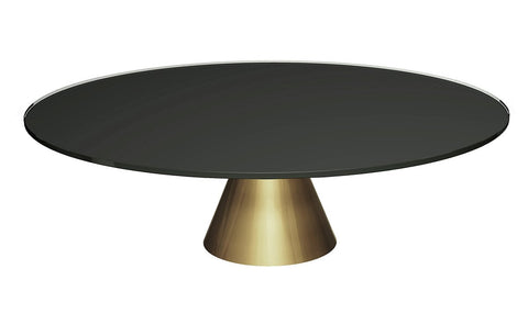 Oscar Black Glass & Brass Circular Coffee Table - Large