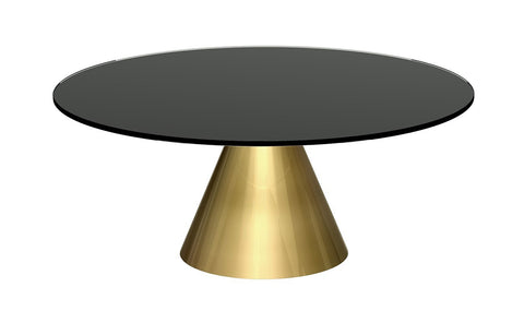 GillmoreSPACE Oscar Black Glass & Brass Circular Coffee Table - Small