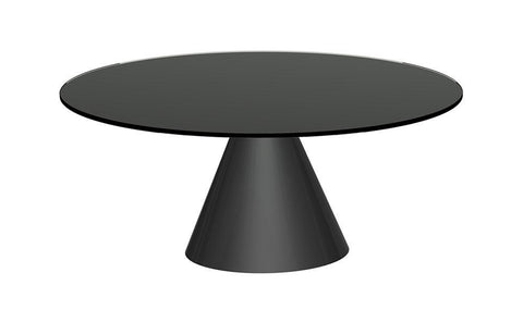 GillmoreSPACE Oscar Black Glass & Matt Black Circular Coffee Table - Small