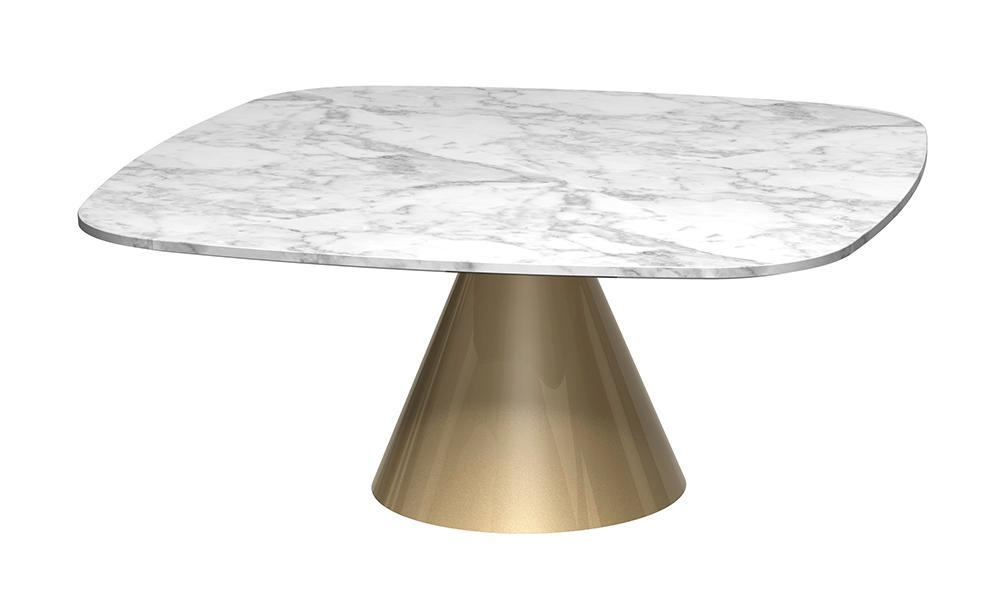 Oscar White Marble & Brass Square Coffee Table - Small