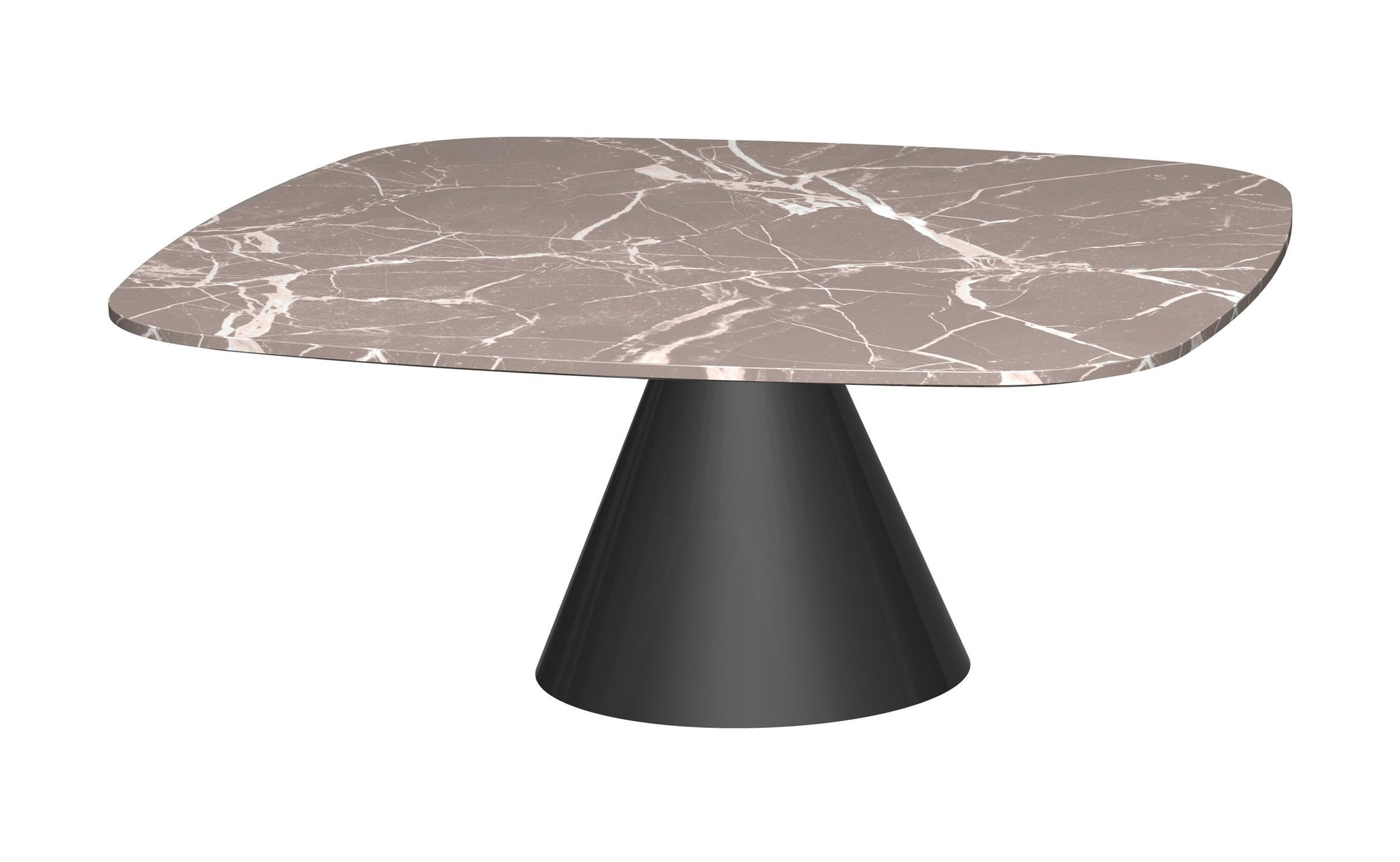 Oscar Brown Marble & Black Square Coffee Table - Small