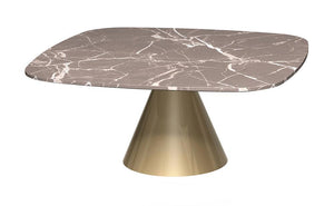 Oscar Brown Marble & Brass Square Coffee Table - Small