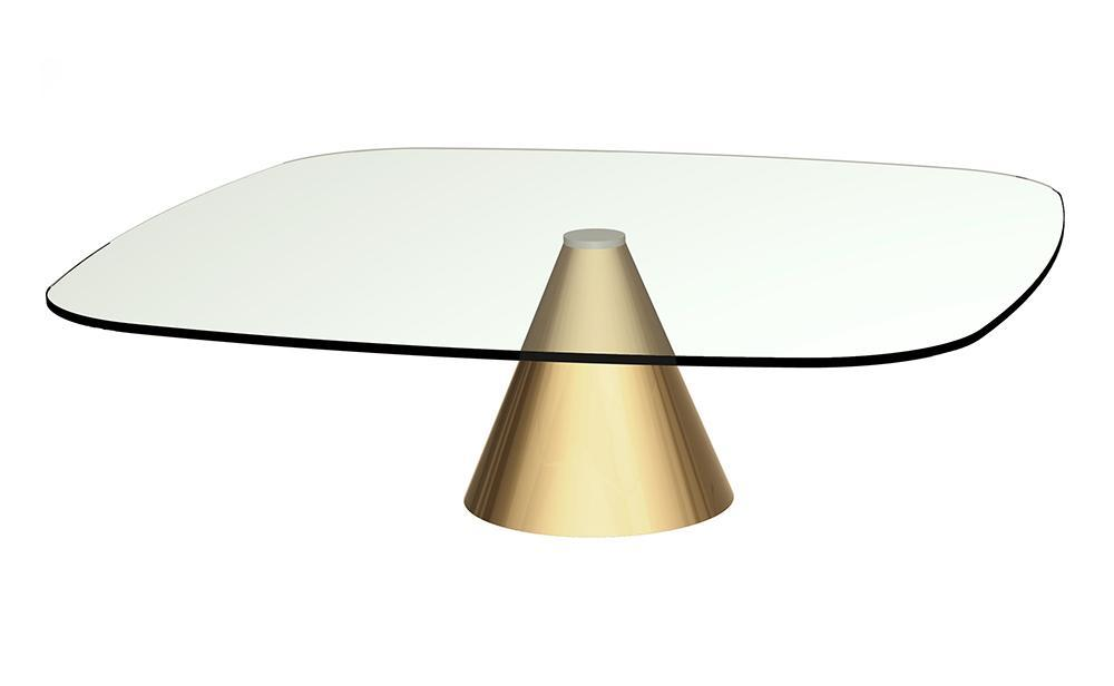 Oscar Clear Glass & Brass Square Coffee Table - Large
