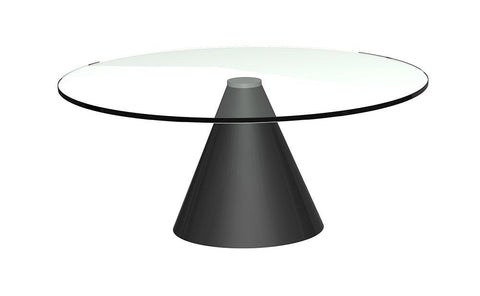 GillmoreSPACE Oscar Clear Glass & Black Circular Coffee Table - Small