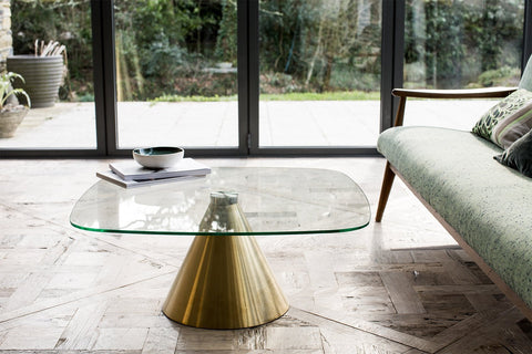 Oscar Clear Glass & Brass Square Coffee Table - Small