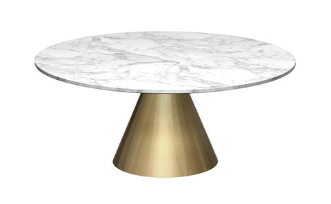 Oscar White Marble & Brass Circular Coffee Table - Small