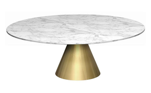 Oscar White Marble & Brass Circular Coffee Table - Large