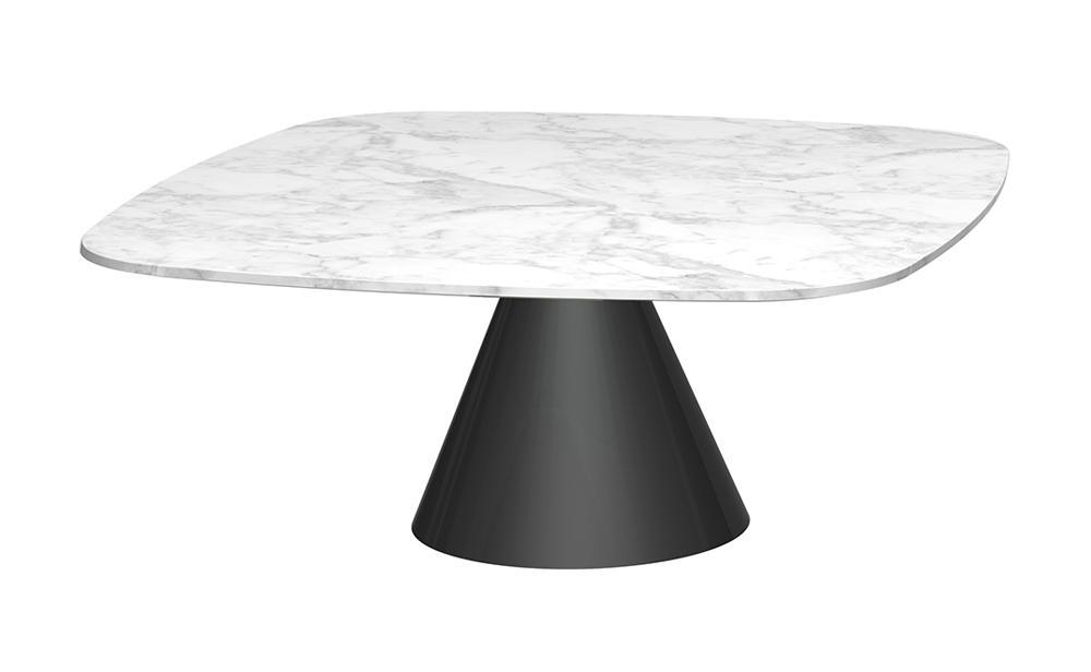 Oscar White Marble & Matt Black Square Coffee Table - Small