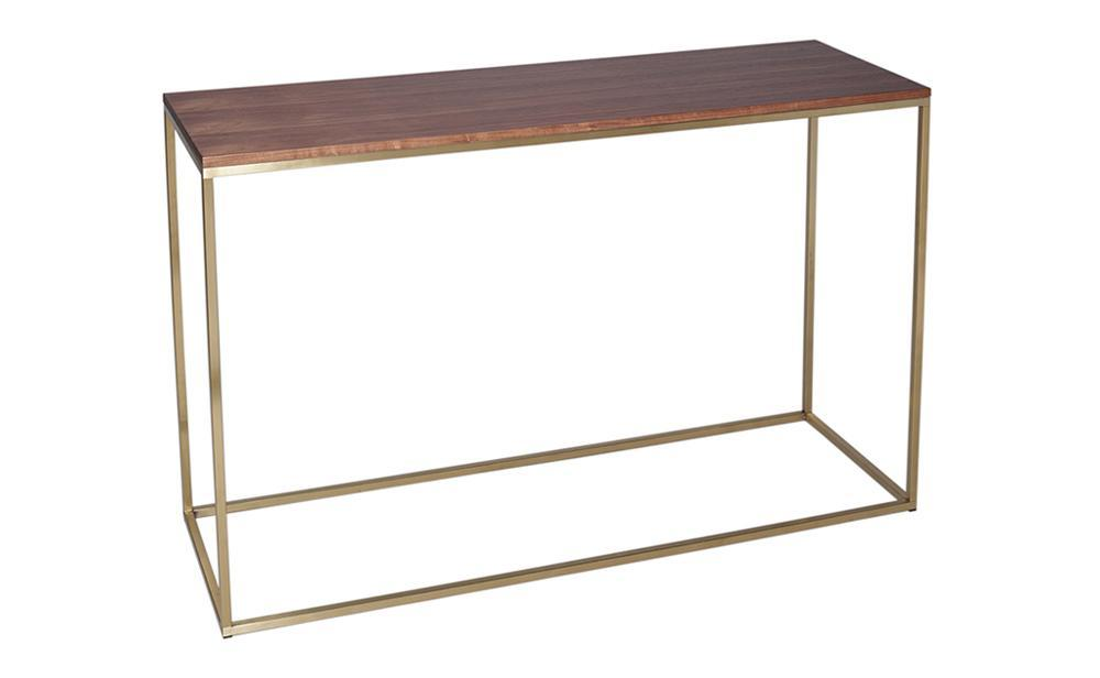 Kensal Walnut & Brass Console Table