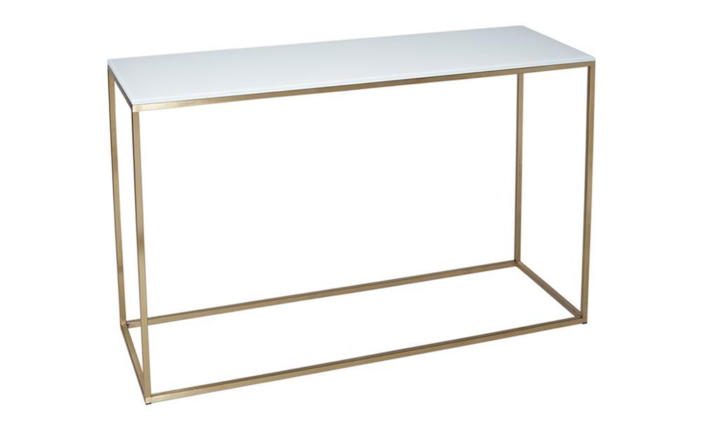 Kensal White Glass & Brass Console Table