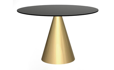 Oscar Black Glass & Brass Circular Dining Table - Large