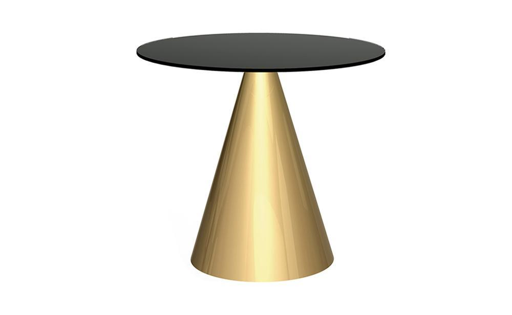 Oscar Black Glass & Brass Circular Dining Table - Small