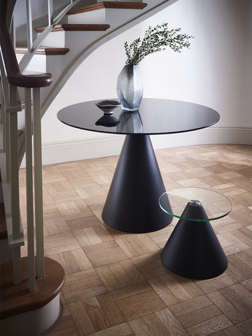 Oscar Black Glass & Matt Black Circular Dining Table - Large