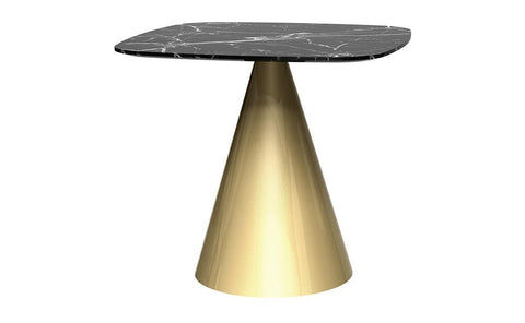 Oscar Black Marble & Brass Square Dining Table - Small
