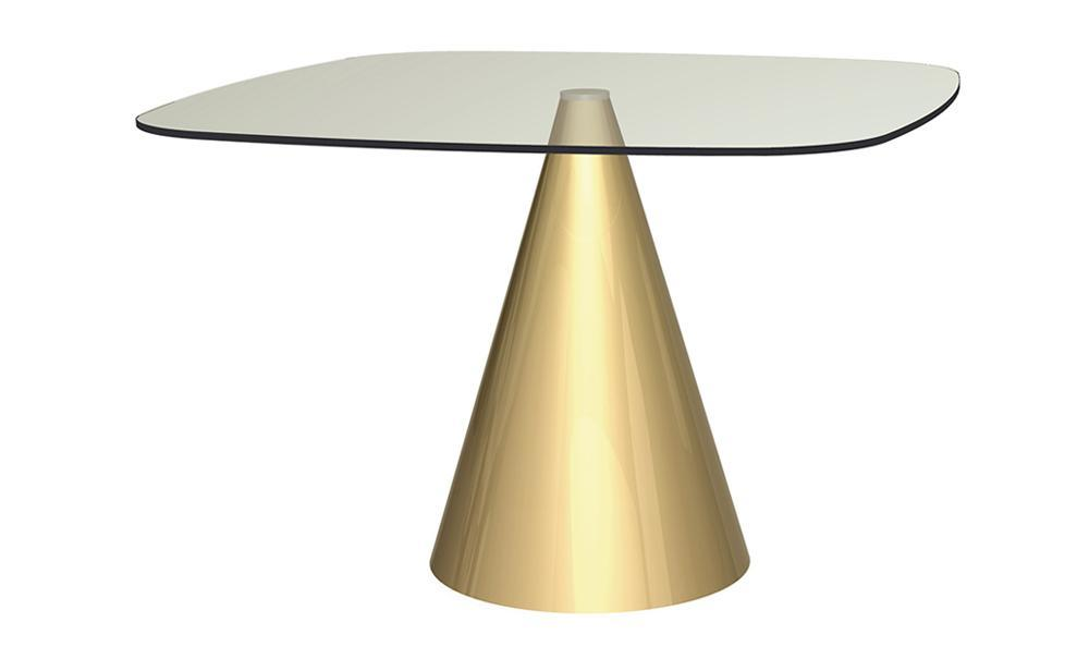 Oscar Clear Glass & Brass Square Dining Table - Large