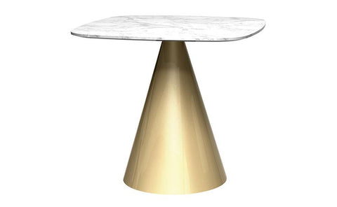 Oscar White Marble & Brass Square Dining Table - Small