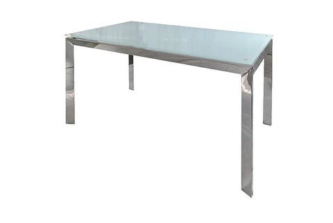 Distinctify White Glass Dining Table