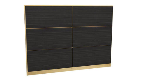 GillmoreSPACE Federico Brass & Black Oak Headboard - Double