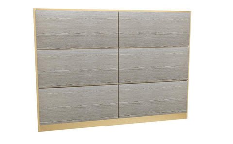 GillmoreSPACE Federico Brass & Weathered Oak Headboard - Double