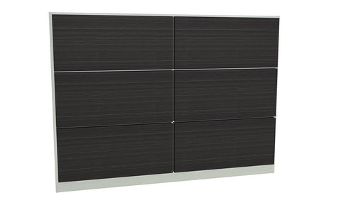 GillmoreSPACE Federico Chrome & Black Oak Headboard - Double