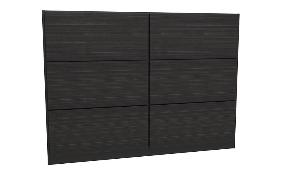 Federico Matt Black Metal & Black Oak Headboard - King