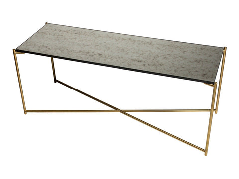 Large low Console table ANTIQUED GLASS with BRASS FRAME
