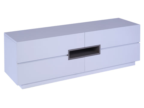 Low TV sideboard - Savoye WHITE with STONE  accent