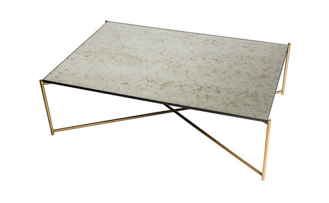 Iris Antiqued Glass & Brass Frame Rectangular Coffee Table