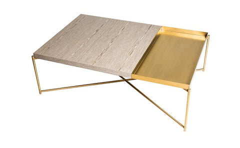 GillmoreSPACE Rectangle coffee table WEATHERED OAK with BRASS TRAY and BRASS FRAME