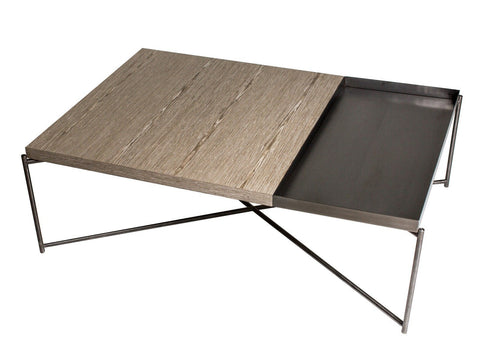 GillmoreSPACE Rectangle coffee table WEATHERED OAK with GUN METAL TRAY and GUN METAL FRAME