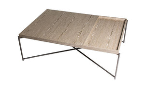 GillmoreSPACE Rectangle coffee table WEATHERED OAK with WEATHERED OAK TRAY and GUN METAL FRAME
