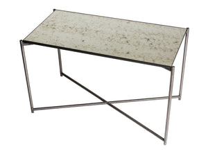 GillmoreSPACE Rectangle side table ANTIQUED GLASS with GUN METAL FRAME