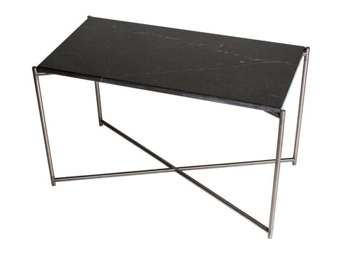 GillmoreSPACE Rectangle side table BLACK MARBLE with GUN METAL FRAME