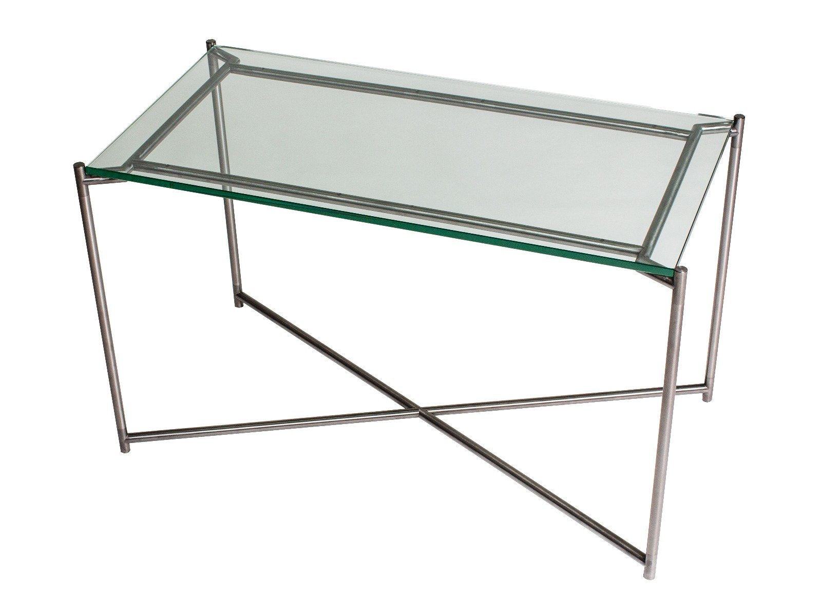 Rectangle side table CLEAR GLASS with GUN METAL FRAME