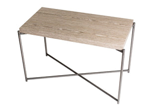 GillmoreSPACE Rectangle side table WEATHERED OAK with GUN METAL FRAME