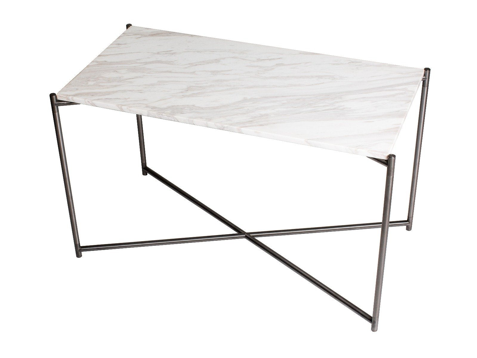 Rectangle side table WHITE MARBLE with GUN METAL FRAME