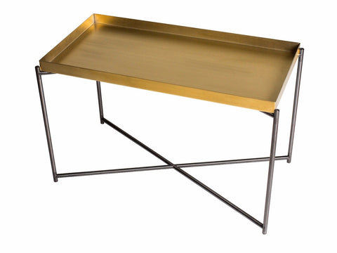 Rectangle tray top side table BRASS top with GUN METAL FRAME