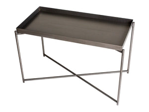 GillmoreSPACE Rectangle tray top side table GUN METAL top with GUN METAL FRAME