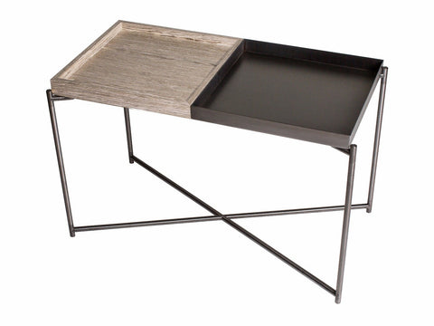 GillmoreSPACE Rectangle tray top side table WEATHERED OAK & GUNMETAL TRAYS with GUN METAL FRAME
