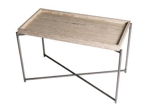 GillmoreSPACE Rectangle tray top side table WEATHERED OAK with GUN METAL FRAME
