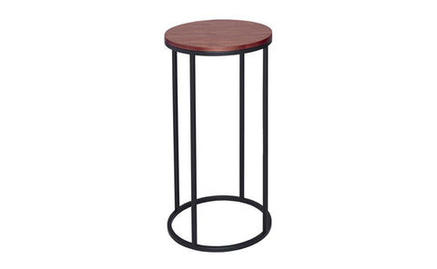 GillmoreSPACE Circular Lamp Stand - Kensal WALNUT with BLACK base